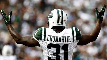 Antonio Cromartie of the New York Jets reacts