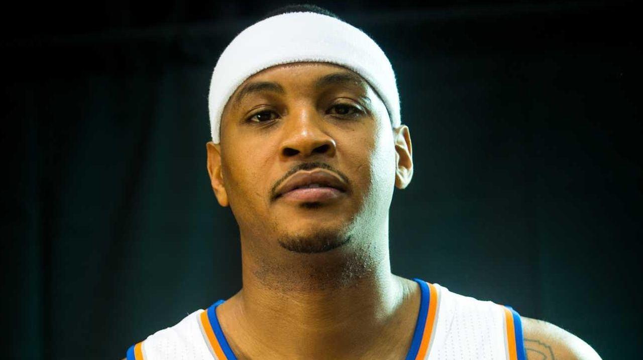 New York Knicks forward Carmelo Anthony (7) poses