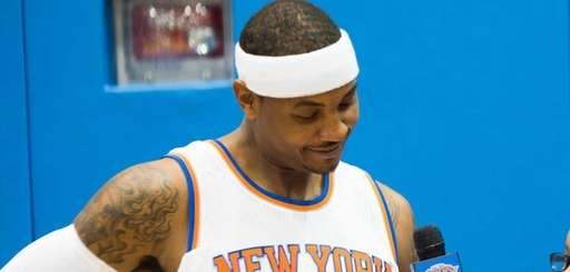 New York Knicks forward Carmelo Anthony poses during