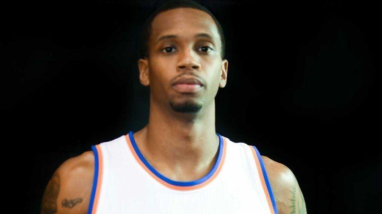 New York Knicks center Lance Thomas poses during