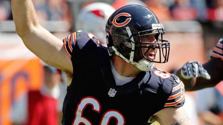 Jared Allen #69 of the Chicago Bears celebrates