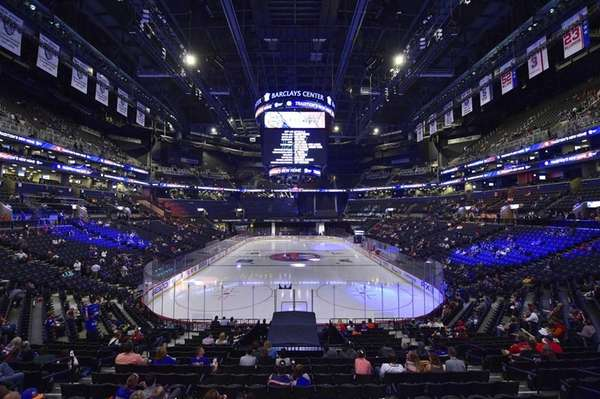 A general view of Barclays Center before a