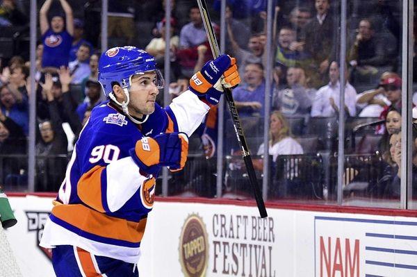 New York Islanders right wing Kirill Petrov celebrates