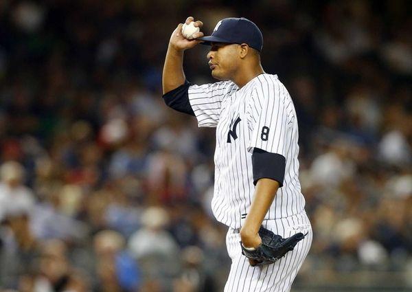 Ivan Nova of the New York Yankees stands