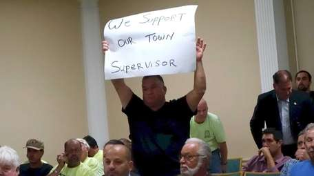 Supporters of Oyster Bay Town Supervisor John Venditto
