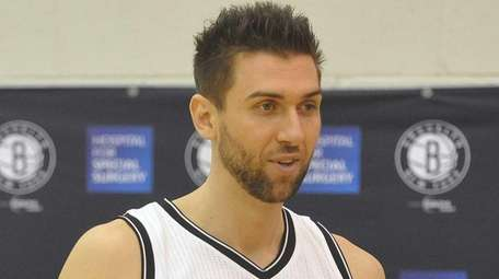 Brooklyn Nets' Andrea Bargnani speaks during Media Day