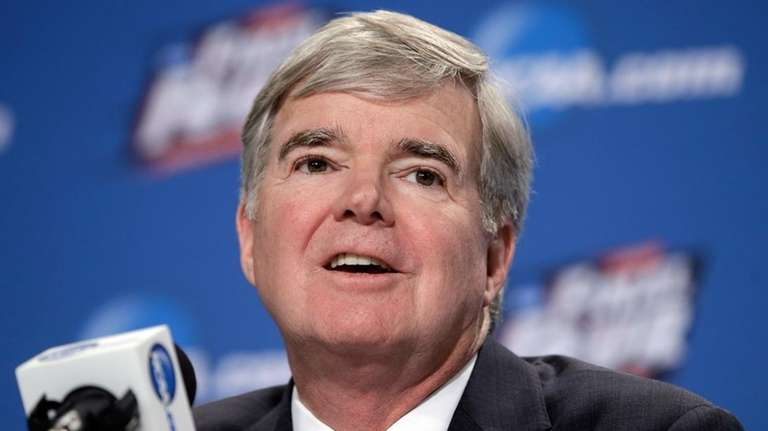 NCAA President Mark Emmert answers questions during a