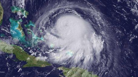 Hurricane Joaquin is seen churning in the Caribbean,