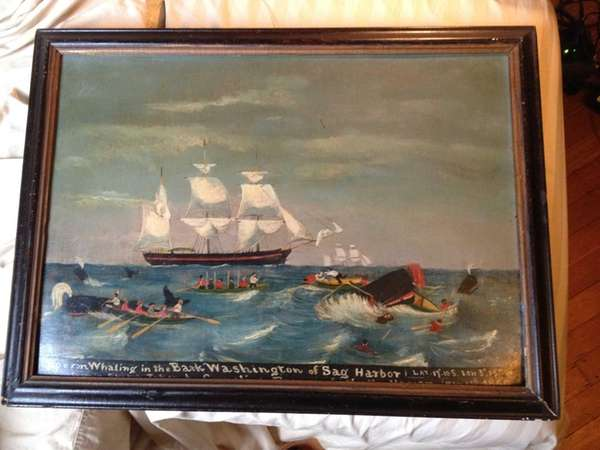 A painting of the whaling ship Bark Washington,