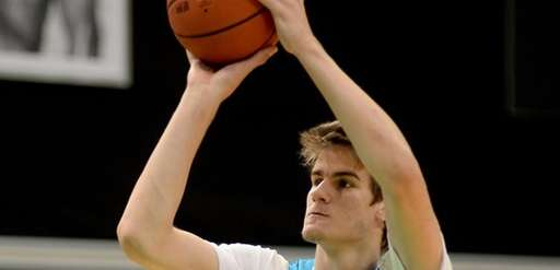 Dragan Bender takes a shot during the Adidas