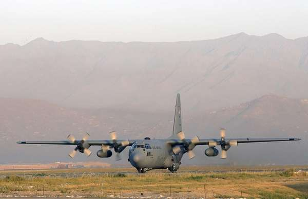 A U.S. Air Force C-130J military transport plane