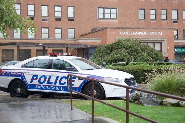 A Suffolk County police car at Good Samaritan