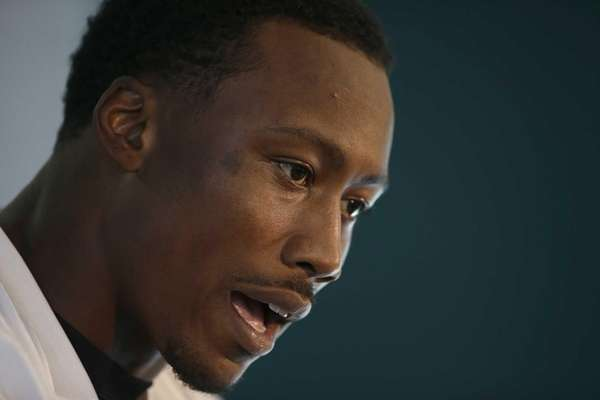 Wide receiver Brandon Marshall speaks during a press