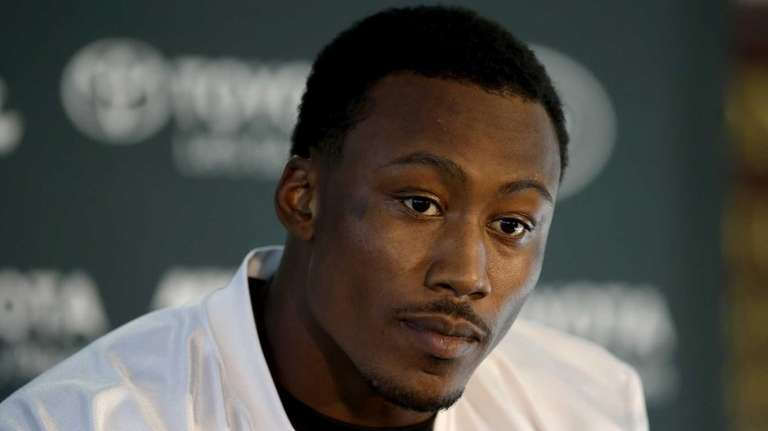 Wide receiver Brandon Marshall gives a press conference