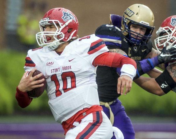 Stony Brook quarterback Joe Carbone finds a gap