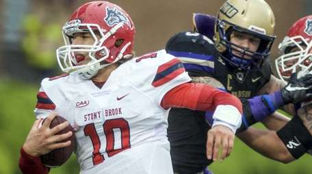 Stony Brook quarterback Joe Carbone finds a gap