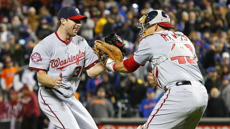 Max Scherzer #31 of the Washington Nationals celebrates