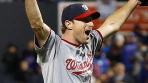 Max Scherzer of the Washington Nationals celebrates the