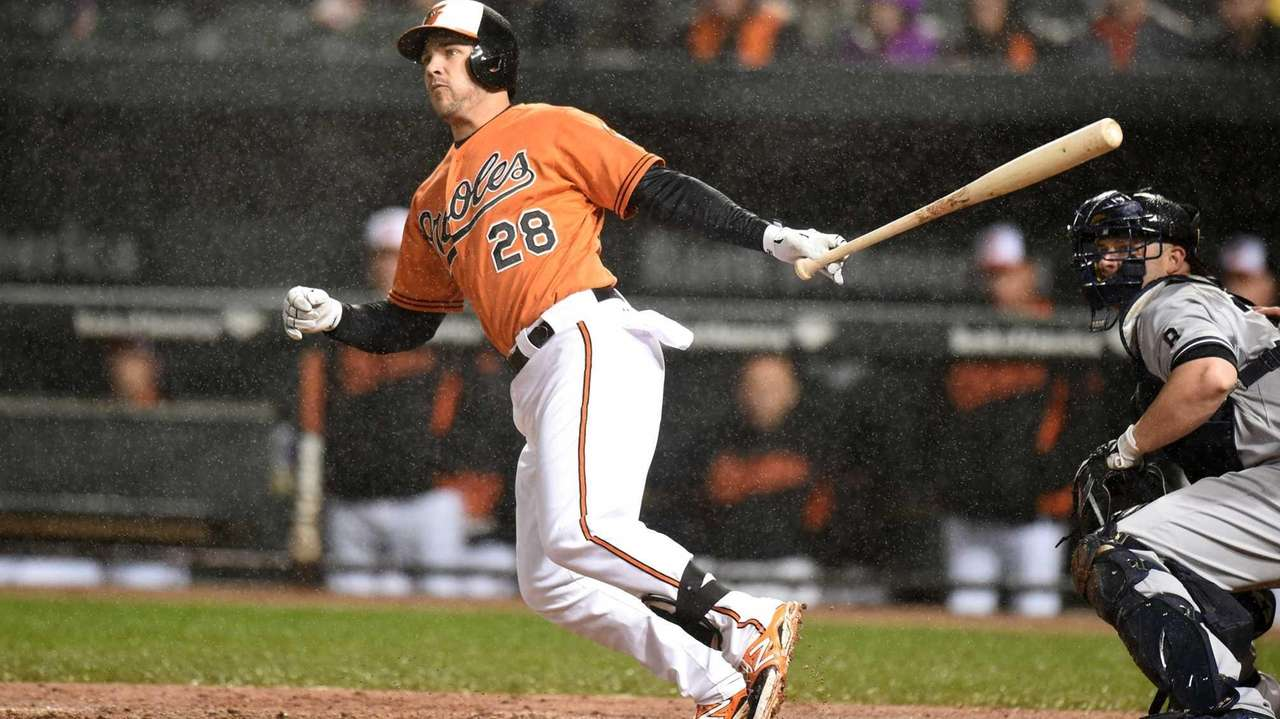 Steve Pearce #28 of the Baltimore Orioles doubles