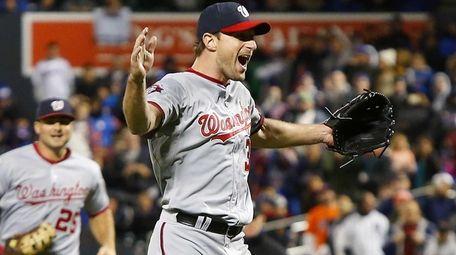 Max Scherzer #31 of the Washington Nationals celebrates