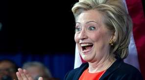 Democratic presidential candidate Hillary Rodham Clinton gestures as