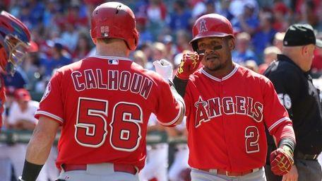 Kole Calhoun #56 of the Los Angeles Angels
