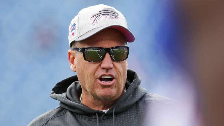 Buffalo Bills head coach Rex Ryan watches warmups