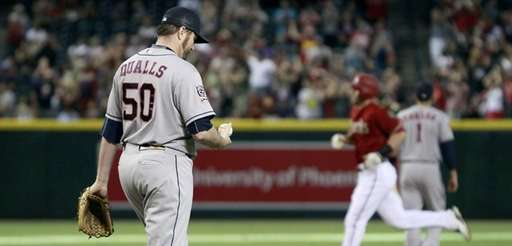 Houston Astros pitcher Chad Qualls (50) reacts as