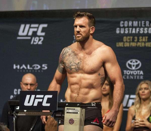 UFC fighter Ryan Bader stands during the weigh