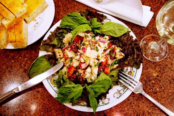 Baccala salad is served at La Piccola Liguria,