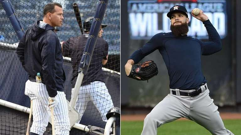 Yankees designated hitter Alex Rodriguez, left, and Houston
