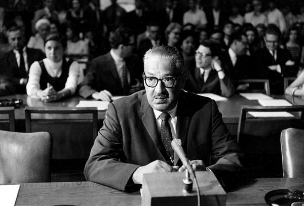 Thurgood Marshall testifying at his Senate confirmation hearings