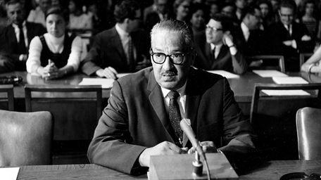 Thurgood Marshall testifying at his Senate confirmation hearings