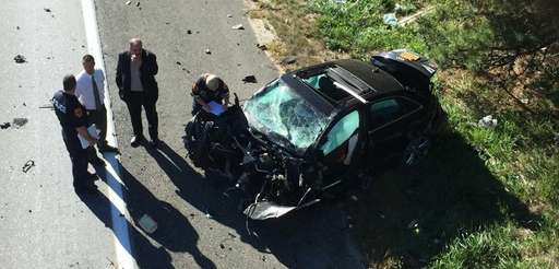 A car crashed on Sunrise Highway westbound in