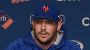New York Mets pitcher Matt Harvey addresses the