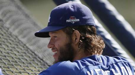 Los Angeles Dodgers pitcher Clayton Kershaw looks on