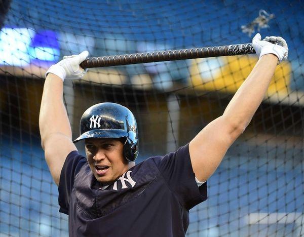 New York Yankees designated hitter Alex Rodriguez stretches