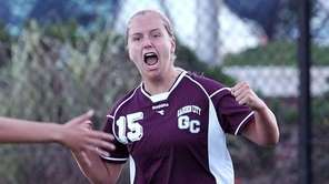 Garden City's Kelly George celebrates her goal during