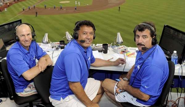 SNY Mets broadcasters, from left, Gary Cohen, Ron