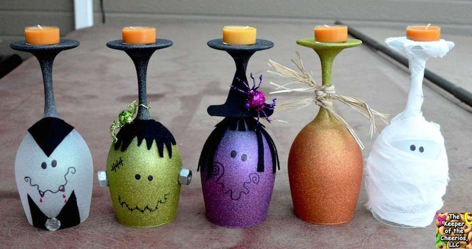 wine glass candle holders - Cute Cheap Halloween Decorations