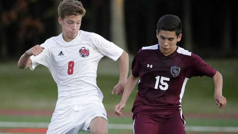 MIller Place's Nick Evola (8) passes in front