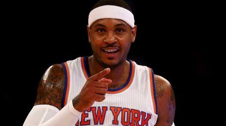 Carmelo Anthony of the New York Knicks celebrates