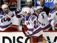 New York Rangers center Oscar Lindberg (24) celebrates