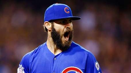 Jake Arrieta #49 of the Chicago Cubs reacts