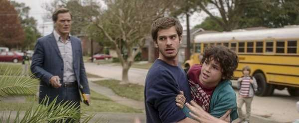 From left, Michael Shannon, Andrew Garfield and Noah