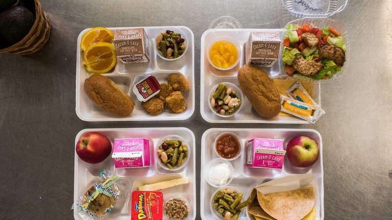 A selection of lunches at Forest Avenue Elementary