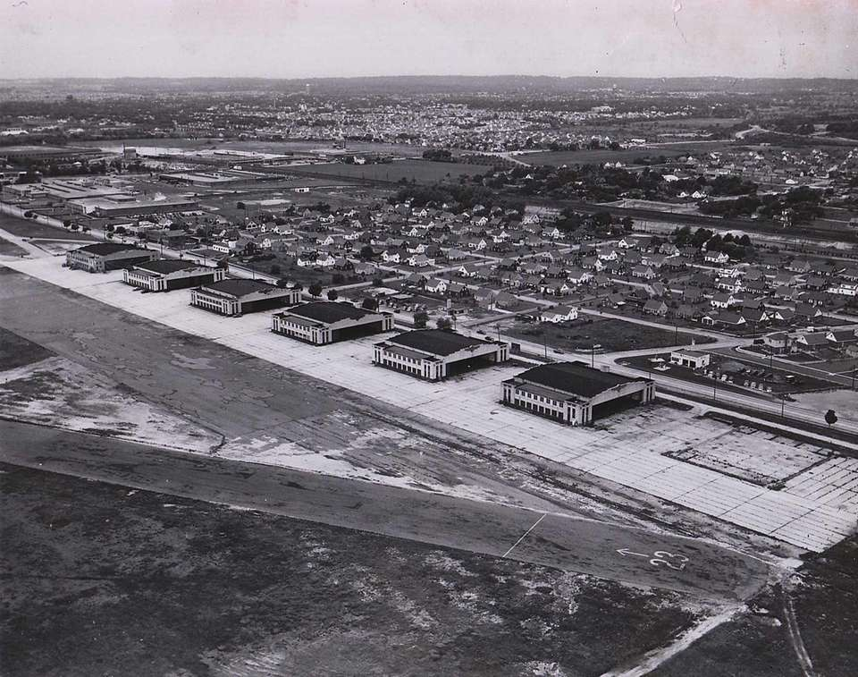 Aerial view of empty hangars at Roosevelt Field,
