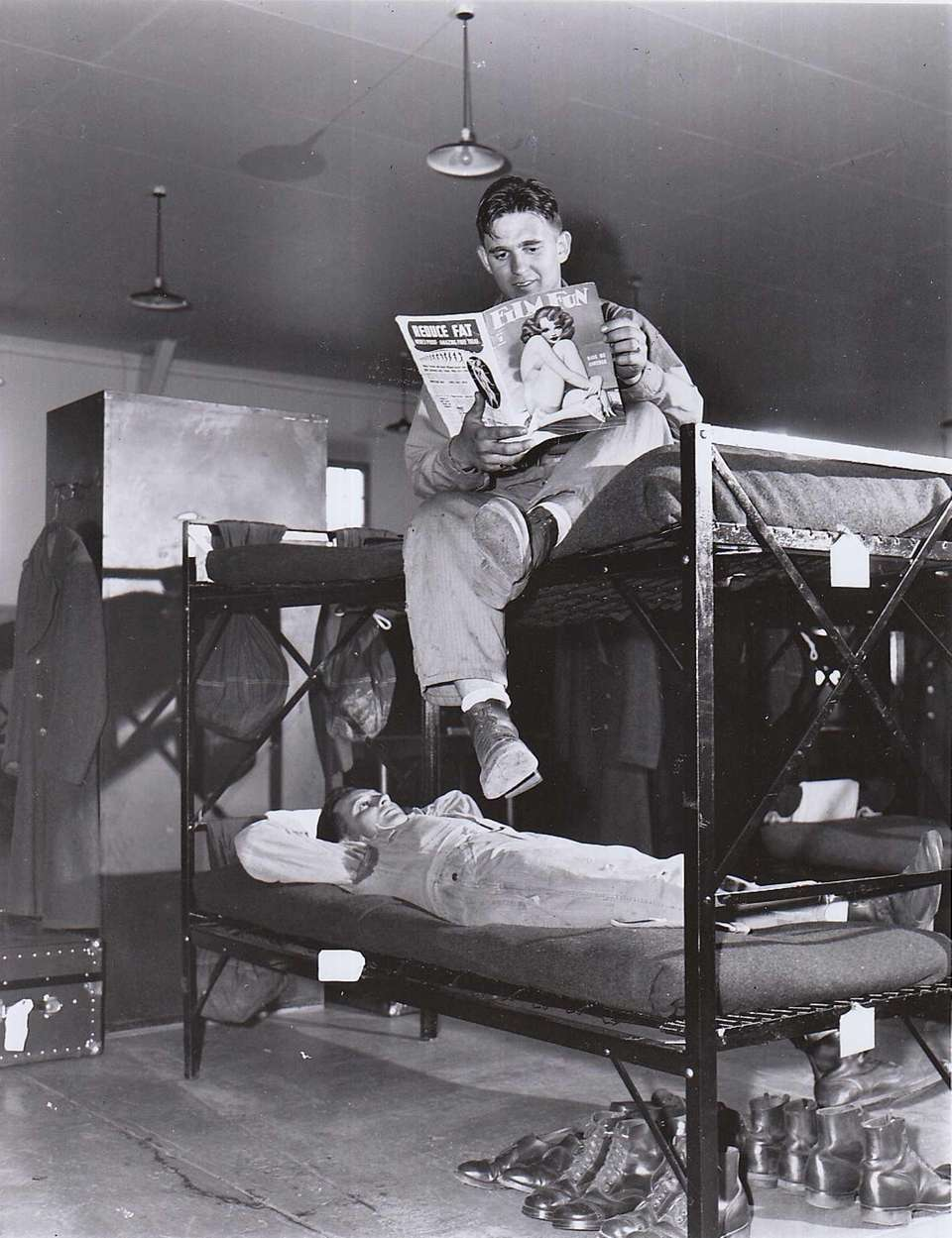 In this 1942 photo, enlisted men spend leisure
