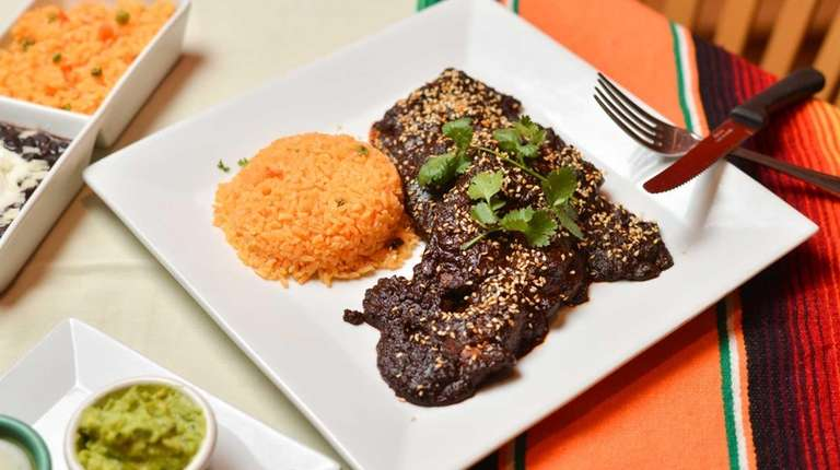 Chicken Mole served with a side of red