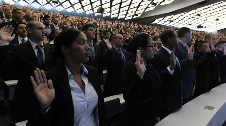 A new class of NYPD recruits is sworn